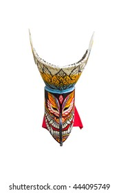 Phi Ta Khon mask isolated on white background. Ghost guise of Loei Province,Thailand.