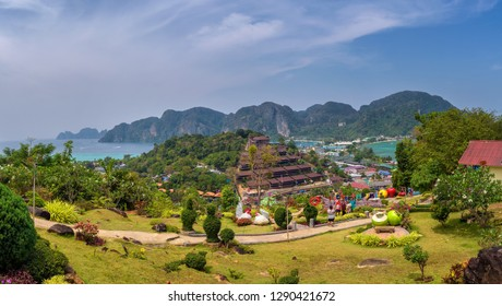 Phi Phi, Thailand - April 4, 2018 : Panoramic view over the Tonsai Village and the mountains of Koh Phi Phi Island in Krabi province, Thailand.