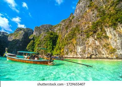 Phi phi, Thailand - january, 2020: Pileh blue lagoon at phi phi island, Krabi, Thailand.
