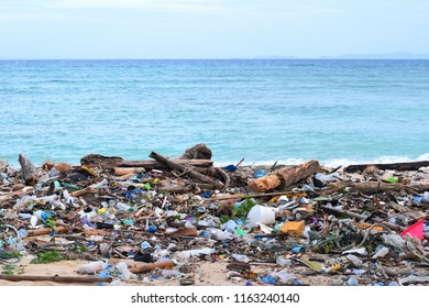 PHI PHI, THAILNAD- AUGUST 21, 2018: Lo Lana bay in Ko Phi Phi island on AUG 21, 2018, Thailand. Low season with waste, trash on the beach.