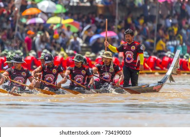 Phichit Long Boat Racing Festival at Nan River in front of Tha Luang Temple, Nai Mueang, Mueang Phichit District, Phichit province : Phichit/Thailand - September 03 2017