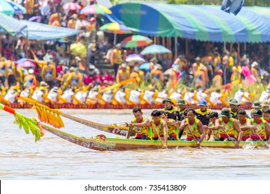 Phichit Long Boat Racing Festival at Nan River in front of Tha Luang Temple, Nai Mueang, Mueang Phichit District: Phichit/Thailand - September 03 2017