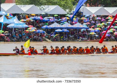 Phichit / Thailand - September 03 2017: Phichit Long Boat Racing Festival at Nan River in front of Tha Luang Temple, Nai Mueang, Mueang Phichit District, Phichit province