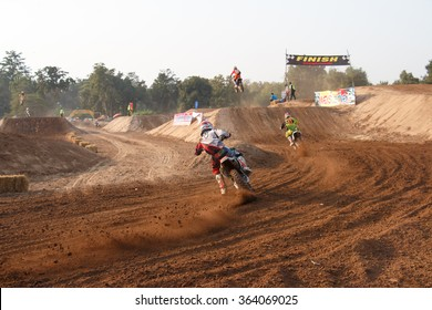 Phichit,Thailand,December 27,2015:Extreme Sport Motorcycle,The motocross competition,motocross rider cornering and free fee to see.