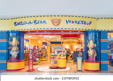 Philadelphia Pennsylvania,October 7 2018:Build-A-Bear Workshop store front, an American retailer that sells teddy bears and other stuffed animals.
