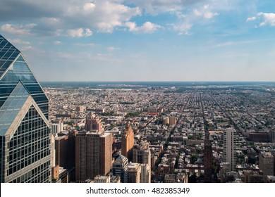 Philadelphia aerial view pano cityscape landscape town