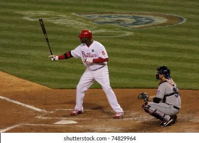 PHILADELPHIA - APRIL 6:  Ryan Howard, No. 6 of the Philadelphia Phillies, bats during home game at Citizens Bank Park vs the New York Mets on April 6, 2011 in Philadelphia, PA