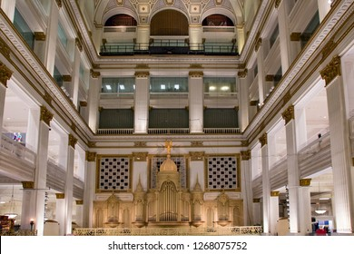 PHILADELPHIA - AUG 8, 2017: Inside of Wanamaker's, the first department store in Philadelphia  in Philadelphia, Pennsylvania.
