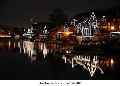 Philadelphia Boathouse Row at Night
