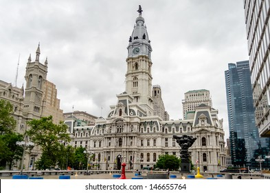 PHILADELPHIA - CIRCA MAY 2013: The City Hall, Philadelphia, USA, circa May 2013. At 548 ft (167 m), including the statue of city founder W. Penn, it is the house of government for the city.