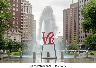 PHILADELPHIA - CIRCA MAY 2013: The popular Love Park named after the Love statue in Philadelphia, USA, circa May 2013. It was first placed in the plaza in 1976 and has since become a global icon