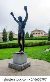 PHILADELPHIA - CIRCA MAY 2013: The Rocky Statue in Philadelphia, USA, circa May 2013. Originally created for the movie Rocky III, the sculpture is now a real-life monument to a celluloid hero