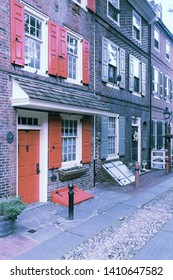 Philadelphia city. Famous Elfreth's Alley historic district, old landmark. Filtered colors style.