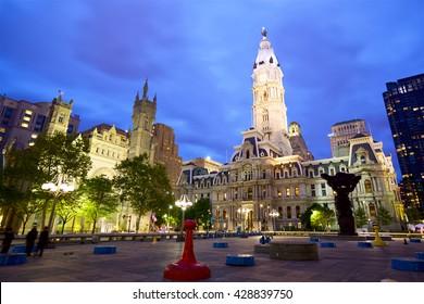 Philadelphia City Hall at dusk, United States