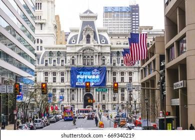 Philadelphia City Hall - Market Street view - PHILADELPHIA / PENNSYLVANIA - APRIL 6, 2017