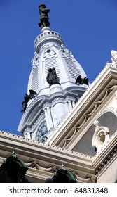 Philadelphia City Hall Watch Tower with Statue of William Penn