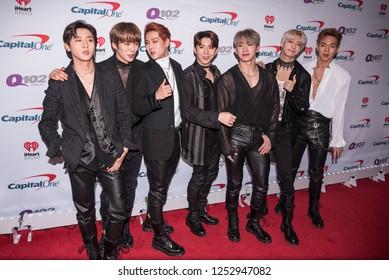 PHILADELPHIA - DEC 6: (L-R) Hyungwon, I.M., Kihyun, Minhyuk, Shownu, Wonho and Jooheon of Monsta X attend Q102's iHeartRadio Jingle Ball 2018 at Wells Fargo Center in Philadelphia, Pennsylvania.