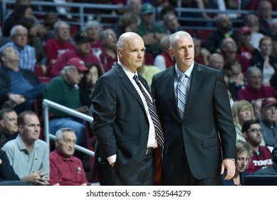 PHILADELPHIA - DECEMBER 13: Saint Joseph's Hawks head coach Phil Martelli (l) talks with assistant David Duda during the Big 5 basketball game December 13, 2015 in Philadelphia.