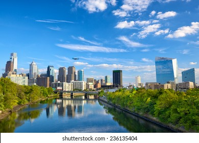 Philadelphia downtown skyline and Schuylkill River, PA, USA