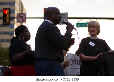 Philadelphia faith leaders participate in a rally against white nationalism and other forms of racism and hate organized by the interfaith advocacy organization POWER, Thursday, August 16, 2017.