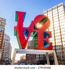 PHILADELPHIA -  FEB 2014: The Love statue on February 27, 2014. The Love Park named after the Love statue in Philadelphia. It was first placed in the plaza in 1976 and has since become a global icon