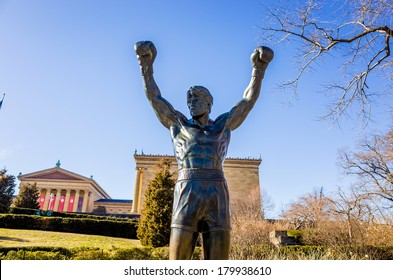 PHILADELPHIA - FEB 27: The Rocky Statue in Philadelphia, USA, on February 27, 2014. Originally created for the movie Rocky III, the sculpture is now a real-life monument to a celluloid hero