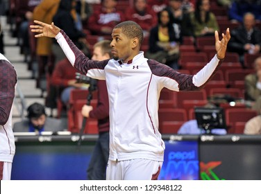PHILADELPHIA - FEBRUARY 21: Temple Owls guard Khalif Wyatt (1) gestures during pre game drills prior to the A-10 basketball game February 21, 2013 in Philadelphia.