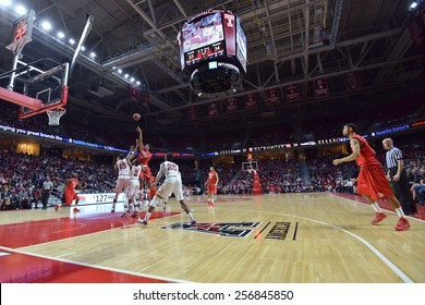 PHILADELPHIA - FEBRUARY 26: The Liacouras Center hosts the Temple Owls and Houston Cougars during the AAC conference college basketball game  February 26, 2015 in Philadelphia.