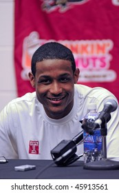 PHILADELPHIA - FEBRUARY 3: Temple University basketball player Ramone Moore answers questions following the Owls 76-60 win over Duquesne in Philadelphia. Moore led all players with 15 points.