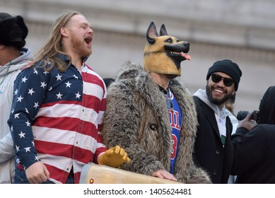 Philadelphia - February 8, 2018: Eagles players Beau Allen, left, and defensive end Chris Long, right, celebrate their Super Bowl LII win during a parade Feb. 8, 2018, in downtown Philadelphia.