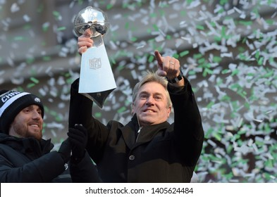 Philadelphia - February 8, 2018: Philadelphia Eagles head coach Doug Pederson celebrates the Super Bowl LII win during a parade Feb. 8, 2018, in front of thousands of fans in downtown Philadelphia.