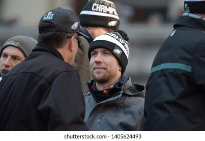 Philadelphia - February 8, 2018: Philadelphia Eagles quarterback Nick Foles celebrates the Super Bowl LII win during a parade Feb. 8, 2018, in front of fans in downtown Philadelphia.