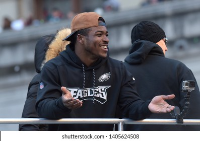 Philadelphia - February 8, 2018: Philadelphia Eagles running back Corey Clement celebrates the Super Bowl LII win during a parade Feb. 8, 2018, in downtown Philadelphia.