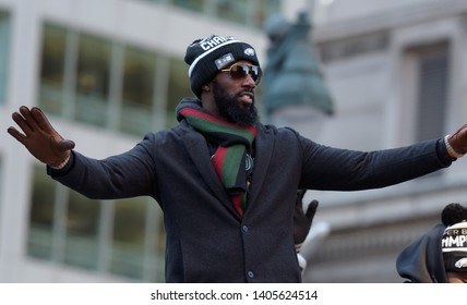 Philadelphia - February 8, 2018: Philadelphia Eagles safety Malcom Jenkins celebrates the Super Bowl LII win during a parade Feb. 8, 2018, in downtown Philadelphia.