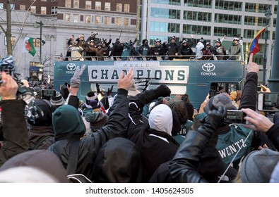 Philadelphia - February 8, 2018: Fans cheer members of the Philadelphia Eagles organization as they celebrate their Super Bowl LII win during a parade Feb. 8, 2018, in downtown Philadelphia.