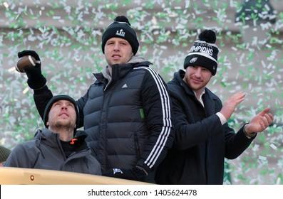 Philadelphia - February 8, 2018: (L-R) Eagles quarterbacks Nick Foles, Nate Sudfeld and Carson Wentz, celebrate the Super Bowl LII win during a parade Feb. 8, 2018, in downtown Philadelphia.