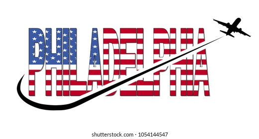 Philadelphia flag text with plane silhouette and swoosh illustration