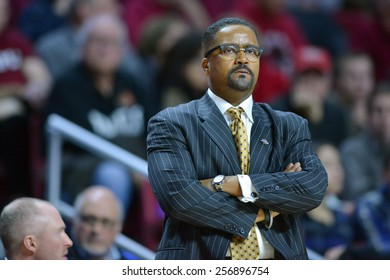 PHILADELPHIA - January 10: Temple Owls head coach Frank Haith shown during the AAC conference college basketball game January 10, 2015 in Philadelphia.