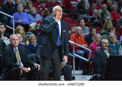 PHILADELPHIA - JANUARY 14: Southern Methodist Mustangs head coach Larry Brown yells towards the court during the AAC conference college basketball game January 14, 2015 in Philadelphia.