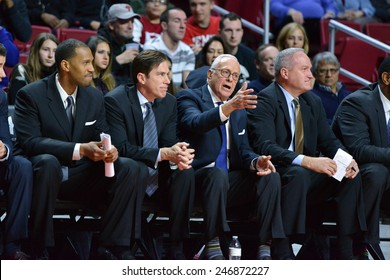 PHILADELPHIA - JANUARY 14: Southern Methodist Mustangs head coach Larry Brown gestures towards the court during the AAC conference college basketball game January 14, 2015 in Philadelphia.