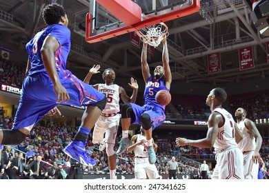 PHILADELPHIA - JANUARY 14: Southern Methodist Mustangs forward Markus Kennedy (5) finishes a dunk during the AAC conference college basketball game January 14, 2015 in Philadelphia.