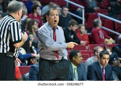 PHILADELPHIA - JANUARY 2: Houston Cougars head coach Kelvin Sampson argues with an official during the American Athletic Conference basketball game January 2, 2016 in Philadelphia.