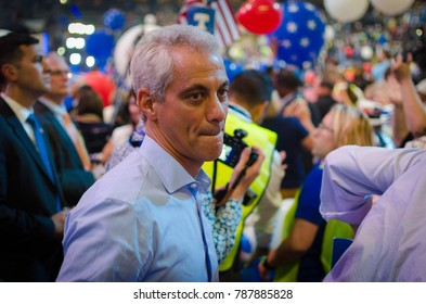 PHILADELPHIA - July 28, 2016: Chicago Mayor Rahm Emanuel on the floor of the Democratic National Convention after presidential nominee Hillary Clinton's speech at the Wells Fargo Center.