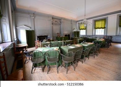 PHILADELPHIA - JUN 27, 2014: Assembly Room in Independence Hall in old town Philadelphia, Pennsylvania, USA. Both the Declaration of Independence and Constitution are signed in this room.
