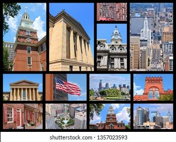 Philadelphia landmarks collage with skylines, Independence Hall, City Hall and Penn State University.