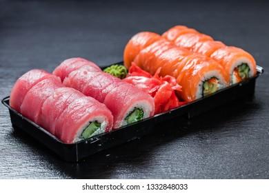 Philadelphia makizushi roll with generous amount of tuna
