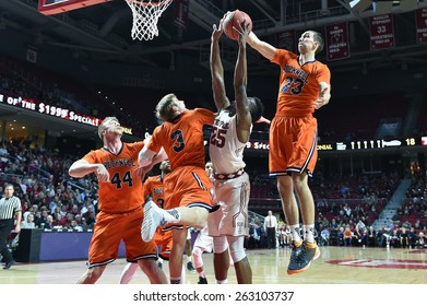 PHILADELPHIA - MARCH 18: Bucknell Bison forward Zach Thomas (23) blocks a shot during the NIT first round basketball game March 18, 2015 in Philadelphia.
