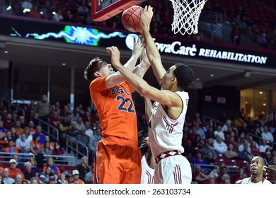 PHILADELPHIA - MARCH 18: Temple Owls forward Obi Enechionyia (0) blocks a shot during the NIT first round basketball game March 18, 2015 in Philadelphia.