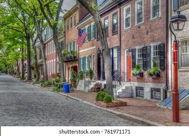 PHILADELPHIA - MAY 2017 Historic Society Hill section of Old City Philadelphia.