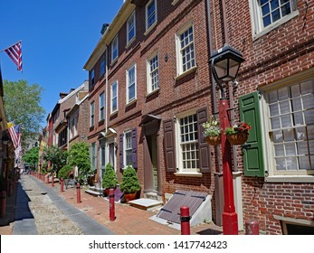 PHILADELPHIA - MAY 2019:   Well preserved street of houses from the 1700s, still in use, in Elfreth's Alley in Philadelphia